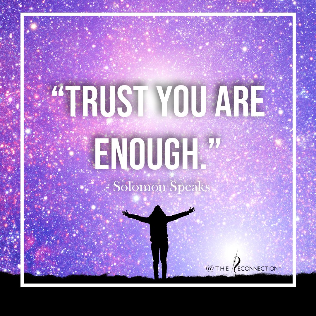 """""""You need to allow yourself to be seen—and not the """"you"""" that you have created—because it is enough...When you wake up, trust that you are enough."""" - Excerpt """"Solomon Speaks on Reconnecting Your Life""""   #wisdomwednesday #BeAllYouAre #alteredstate #youareenough #wednesdaywisdom https://t.co/kIIbahkl1v"""