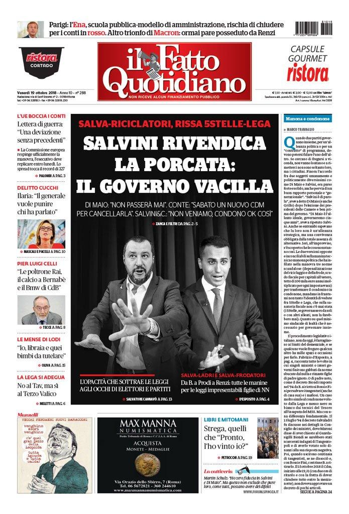 La Prima Pagina Del Fatto Quotidiano Di Oggi Salvini Rivendica La