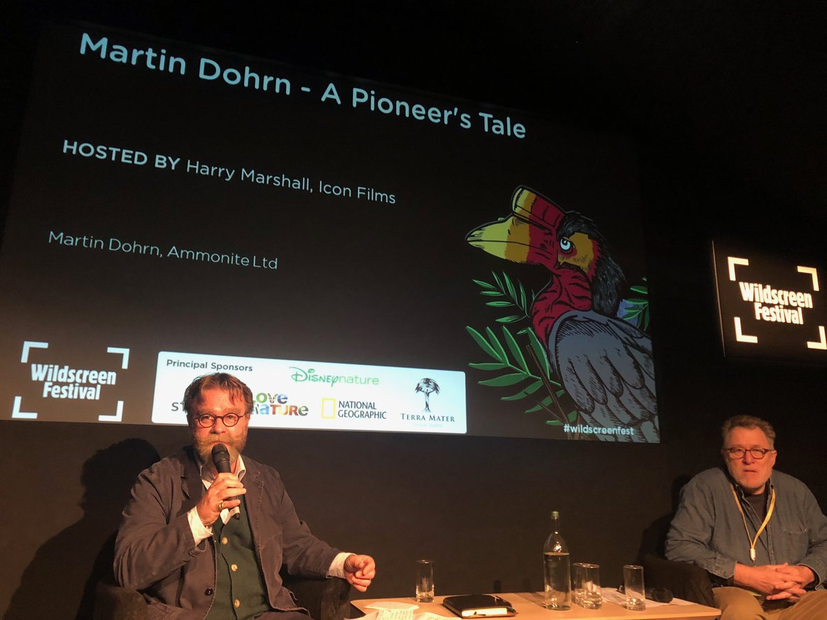 #MartinDohrn on stage with Harry Marshall ⁦@WildscreenFest⁩ A Pioneer's Tale #legend. #genius https://t.co/CaZkFaHL2V
