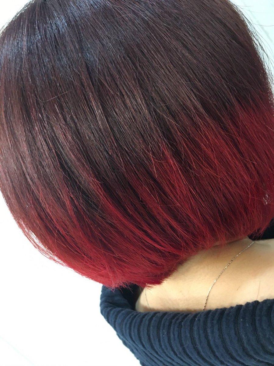 グラデーションカラー 赤 ボブ