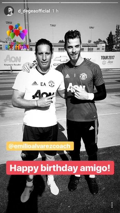 Love this! David De Gea wishes goalkeeper coach Emilio Alvarez a happy birthday on Instagram!