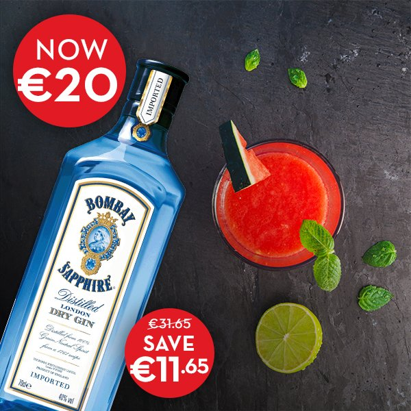 #pricedrop alert Bombay Sapphire now €20 in all stores NOW! Don't miss out! #Gin https://t.co/8fEivIOU12