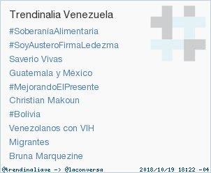#Bolivia acaba de convertirse en TT ocupando la 7ª posición en Venezuela. Más en https://t.co/TZZWvFfY1p #trndnl https://t.co/HtWQxbSUIX