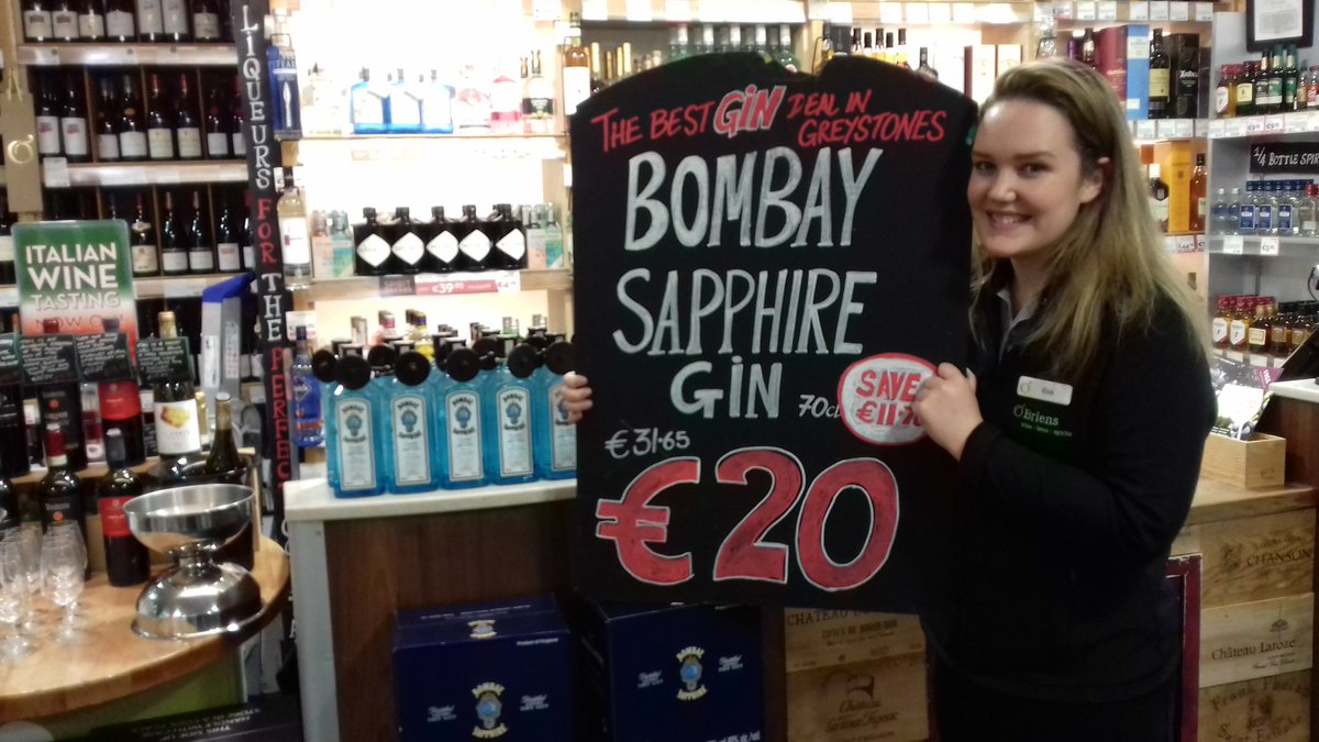 Bombay Sapphire Gin is now €20!!! Yes indeed €20 right now in #Greystones   *customer quotas apply* (^Greystones) https://t.co/xFaf2WXP5C