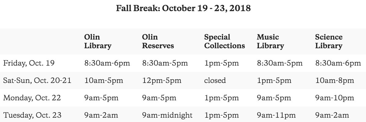test Twitter Media - Have an excellent break, everyone! Please note that the library has limited hours over the next few days and plan your last minute research accordingly. Regular hours will resume on Wednesday, October 24th. https://t.co/cHq3RhTc19