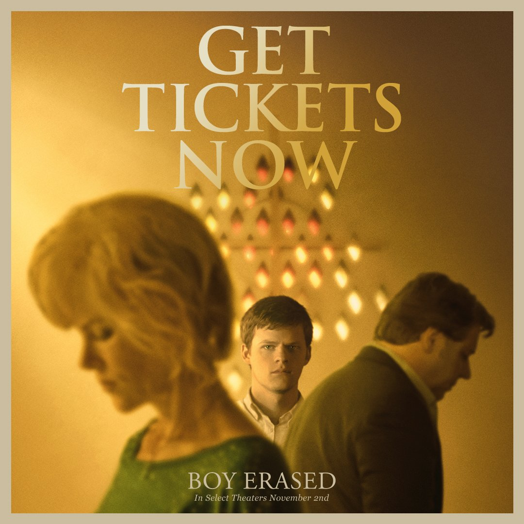 RT @BoyErased: #BoyErased opens in select theaters in two weeks. Tickets are on sale NOW at https://t.co/331oXiZjxQ. https://t.co/6ByLqvX4Lm