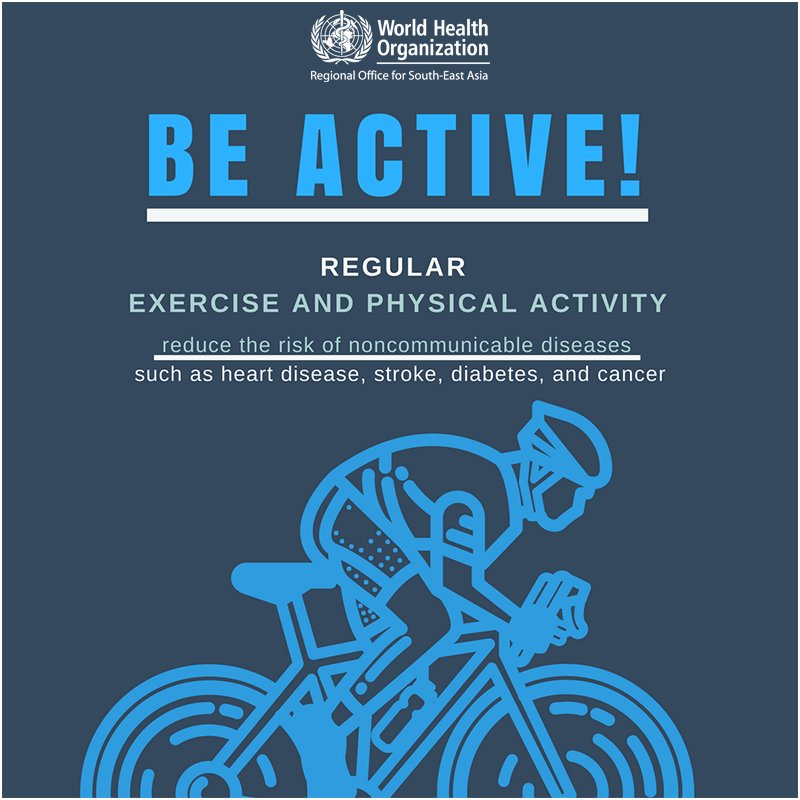 test Twitter Media - Regular exercise & physical activity helps⬇️the risk of noncommunicable diseases such as heart disease, #stroke, #diabetes & #cancer https://t.co/yq1uU8vCRo