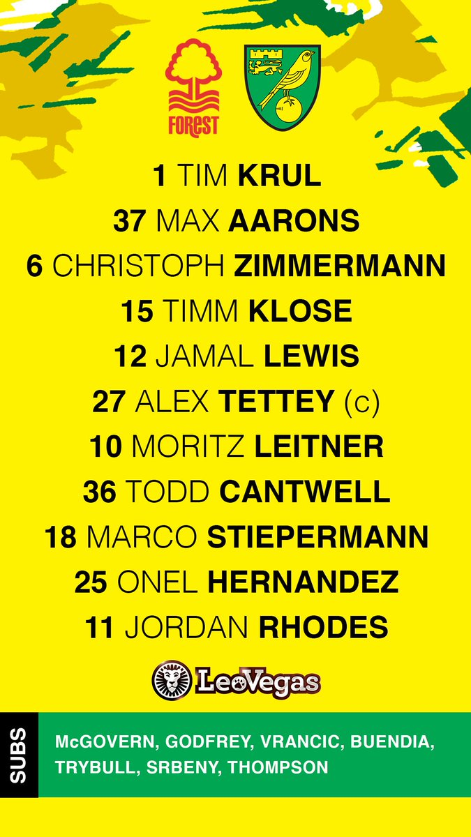 RT @NorwichCityFC: Here's your City XI and subs for today's match ⬇️  #ncfc https://t.co/UPcODEPYld