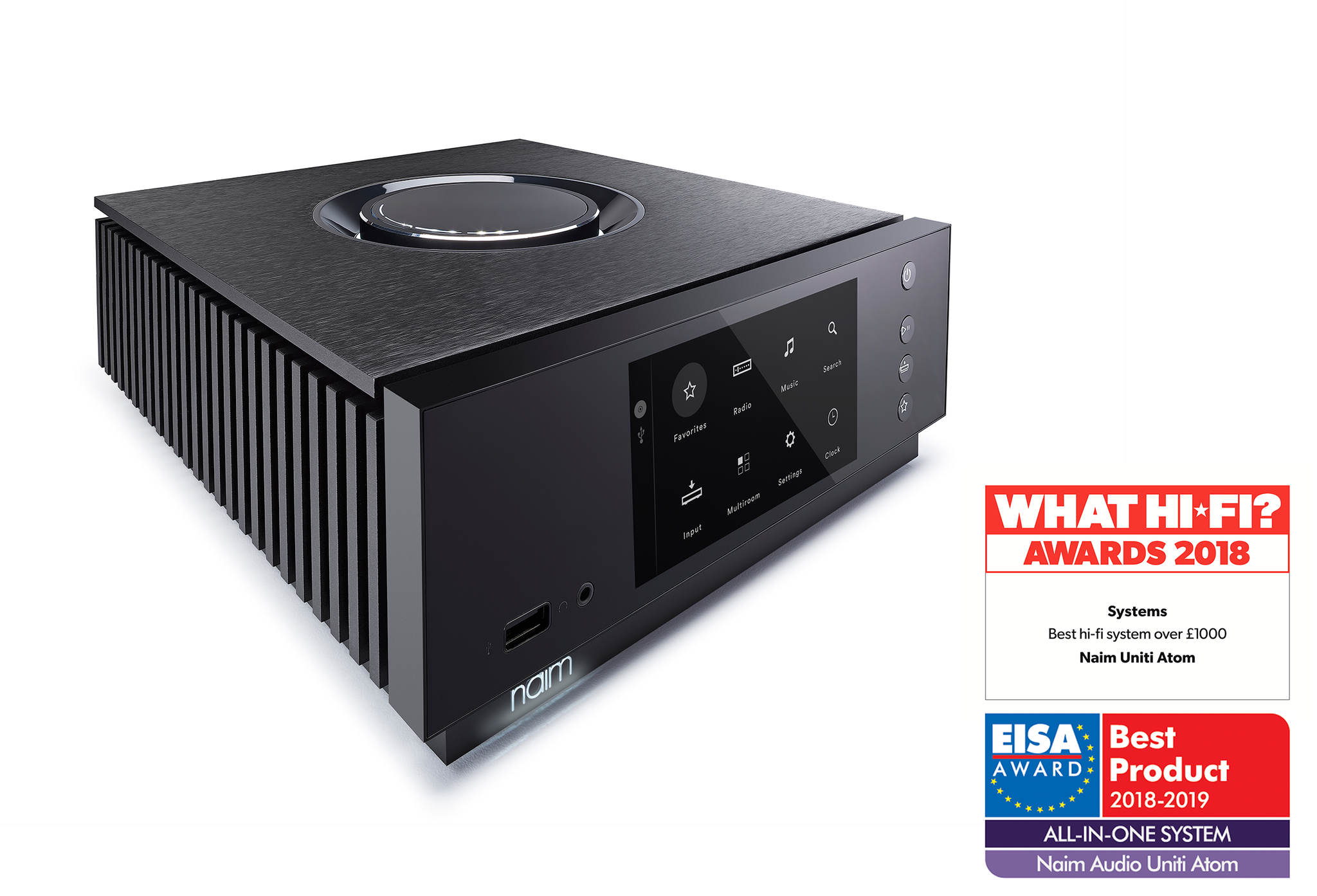 """Delighted to say the Uniti Atom has been crowned """"Best hi-fi system over £1,000"""" in the @whathifi Awards 2018. The Uniti Atom was also awarded """"Best Product"""" in the All-in-One System category of the @eisaawards in August. Is there anything this product can't win? https://t.co/LNWcdCyrUB"""