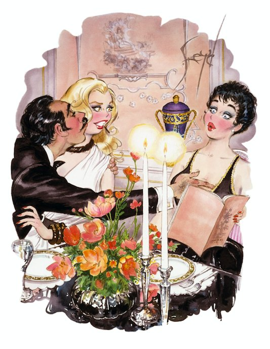 Ordering in French was your idea! #PlayboyHeritage  Art: Doug Sneyd NjO6bfbRc0