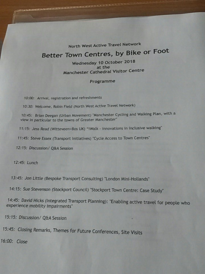test Twitter Media - RT @ianjpennington: Great ideas at the #nwatnbettertowns seminar today on #walking & #cycling in/around #towncentres https://t.co/bkkR2KS3iz