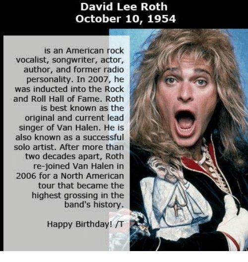 Happy birthday David Lee Roth!