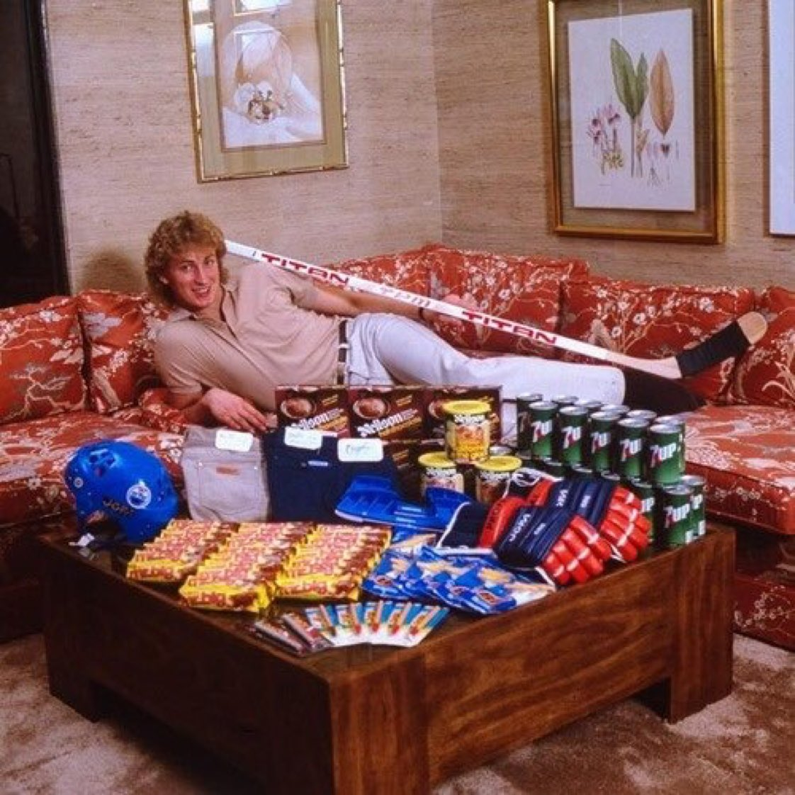 Sometime Wayne Gretzky just liked to relax with the products he endorsed, the hotel art he'd stolen, and his garage sale sofa. https://t.co/S7R7NgYcIJ