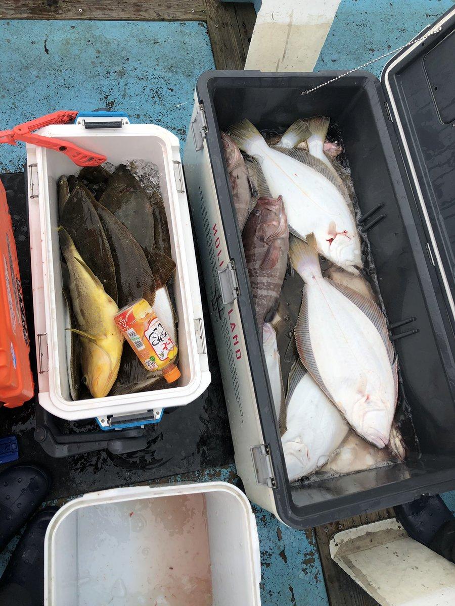 今日の釣果 3人でヒラメ46枚! アオハタ、オオモンハタ、マハタ、 ツバス、メジロ https://t.co/ld6m1yFVrt
