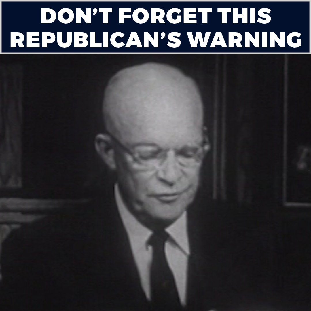 """Dwight D. Eisenhower was not a radical socialist—he was a Republican. And in 1961, he tried to warn us about the """"military industrial complex."""" https://t.co/WLbZ9U6NFG"""