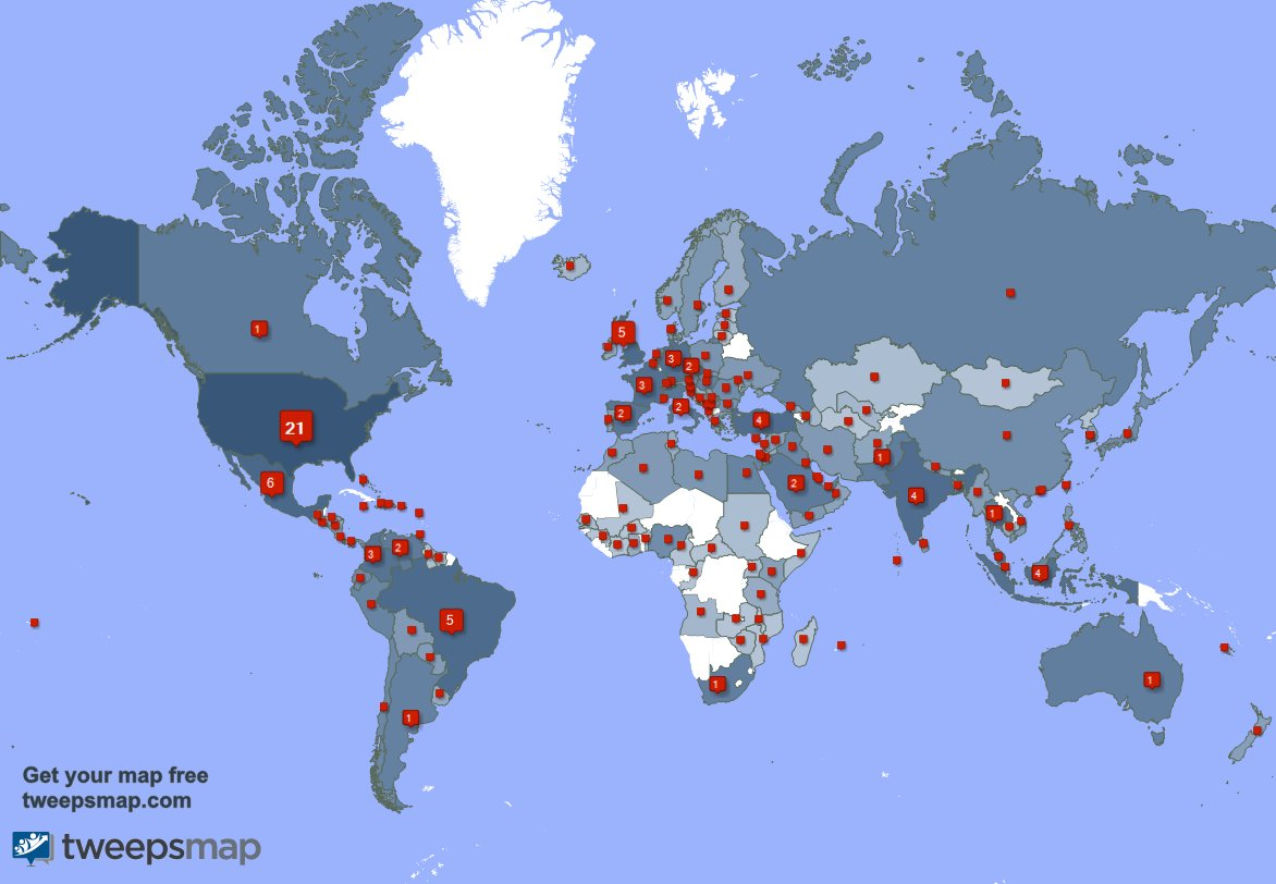 My followers live in 143 countries: USA(21%), Mexico(6%)... TGBuqg7WzH Get your free map