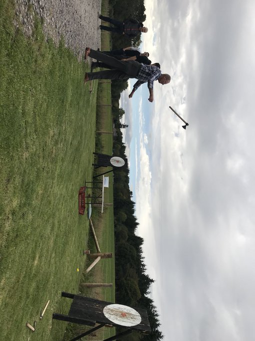 Image for Winter is coming but we are open right through so why not grab your mates and book a great fun activity day with us! We can even bring a tonne of fun to your next event - check out Farmer Ken about to #hitthebullseye with this axe ???? https://t.co/vW6ekO