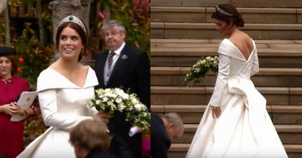 Princess Eugenie looks stunning in her Peter Pilotto wedding gown.