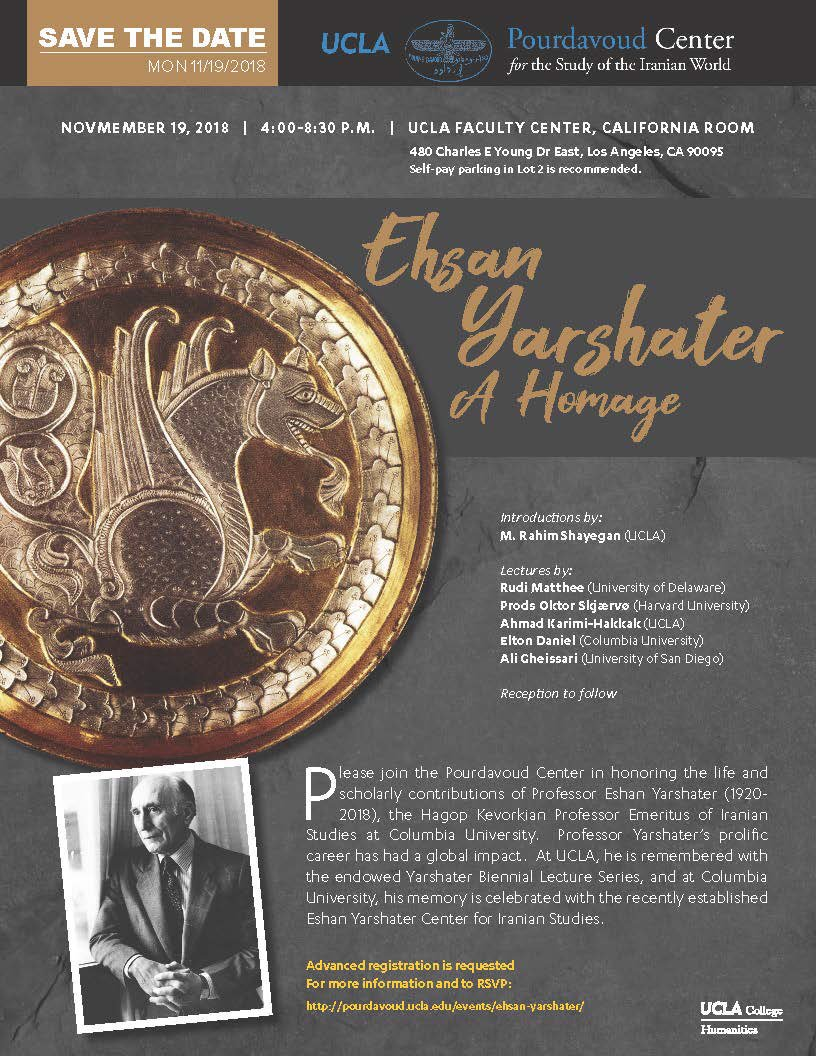 Please join the Pourdavoud Center in honoring the life and scholarly contributions of Ehsan Yarshater on November 19th from 4:00-8:30pm! https://t.co/Y4GEAwE1nV