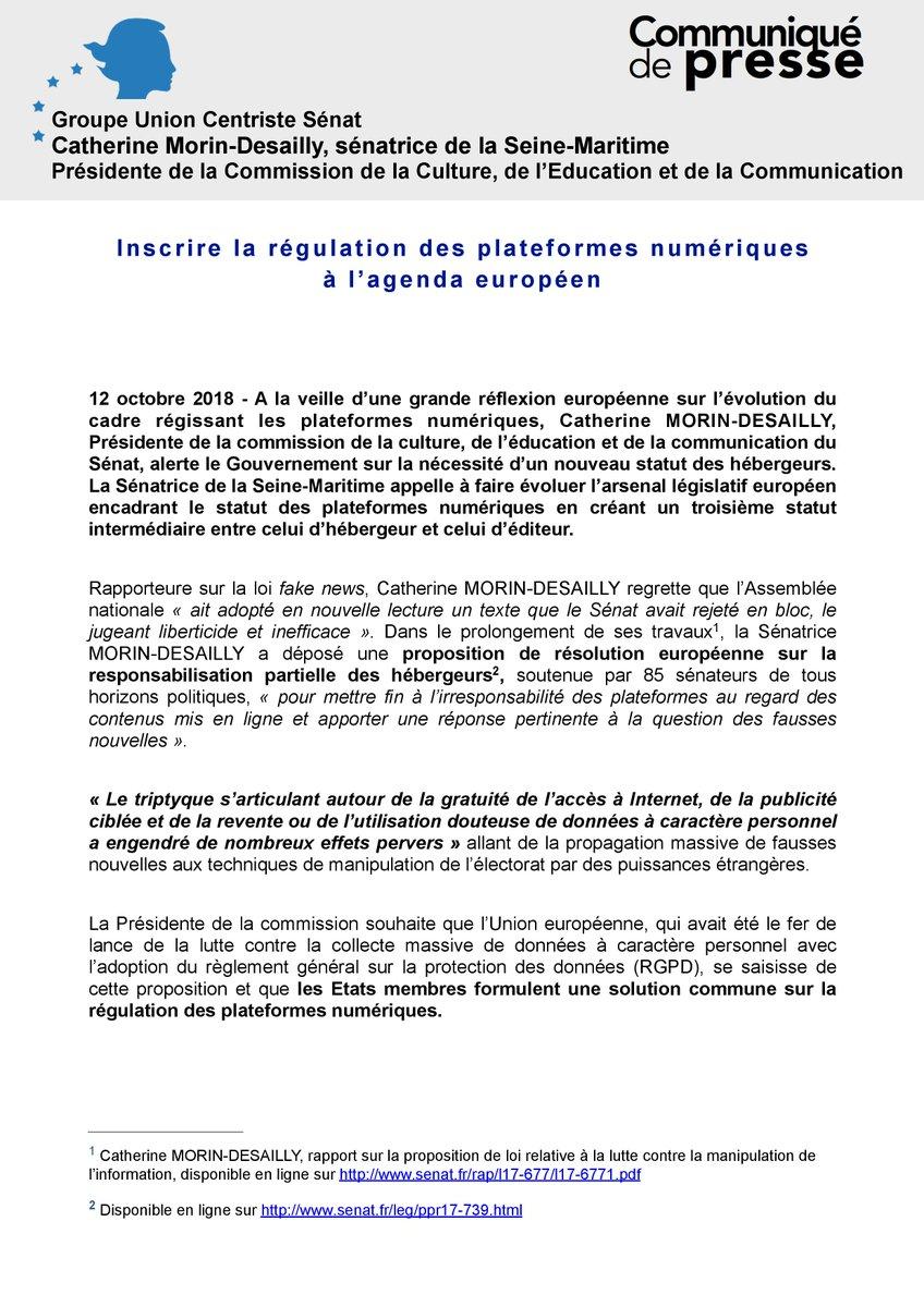 """#COMMUNIQUÉ - """"Inscrire la régulation des plateformes numériques à l'agenda européen"""" de @C_MorinDesailly"""