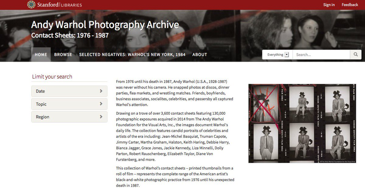 test Twitter Media - Andy Warhol Photography Archives (Over 130,000 Images) Now Publicly Available via a Cantor Center and Stanford University Library's Collaboration  #digitalhumanities #art #photography #archives https://t.co/4BGFQVhfil