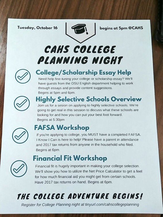 test Twitter Media - CAHS College Planning Night. FAFSA-Financial Fit-Essay Help-Application Help-Highly Selective Info https://t.co/Jb17Bc3zqv https://t.co/uPTgLB4SoD