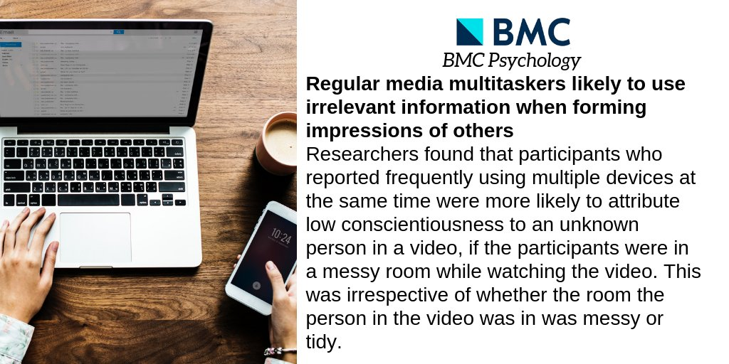 test Twitter Media - People who often use several different media devices at the same time are more likely to use irrelevant information from their environment when forming impressions of people they don't know, according to a study published in the #OA journal BMC Psychology. https://t.co/1rhZQKWj6Q https://t.co/u0Zdbh4DdQ