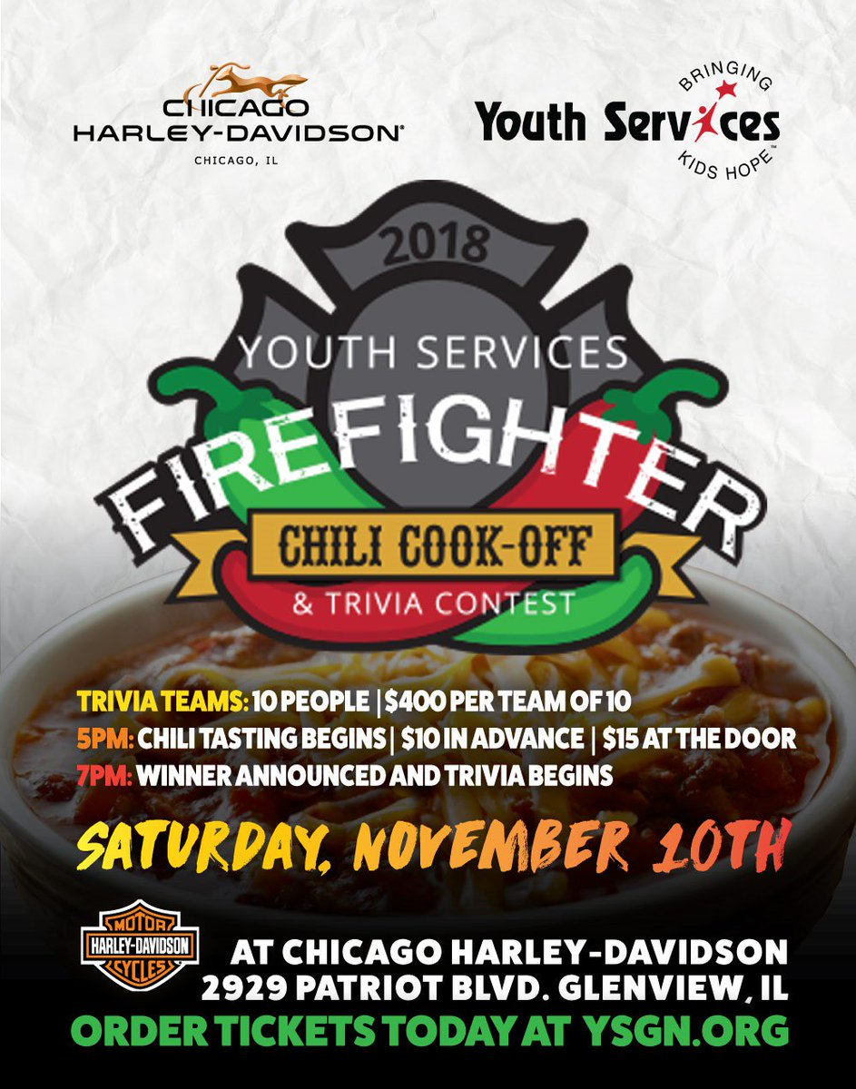 test Twitter Media - Youth  Services' Firefighter Chil Cook-Off takes place from 5:00 p.m.-7:00  p.m., Saturday, November 10 at Harley-Davidson Motor Cycles in Glenview! Order tickets at https://t.co/uD4FifpE75 #d30learns https://t.co/SJHm6vpQg4