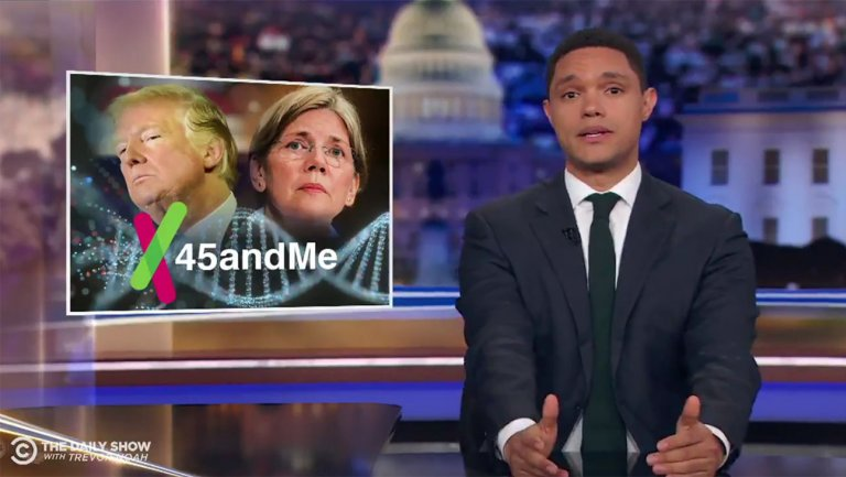 Late-night hosts call out Trump for lackluster response to Elizabeth Warren's DNA results