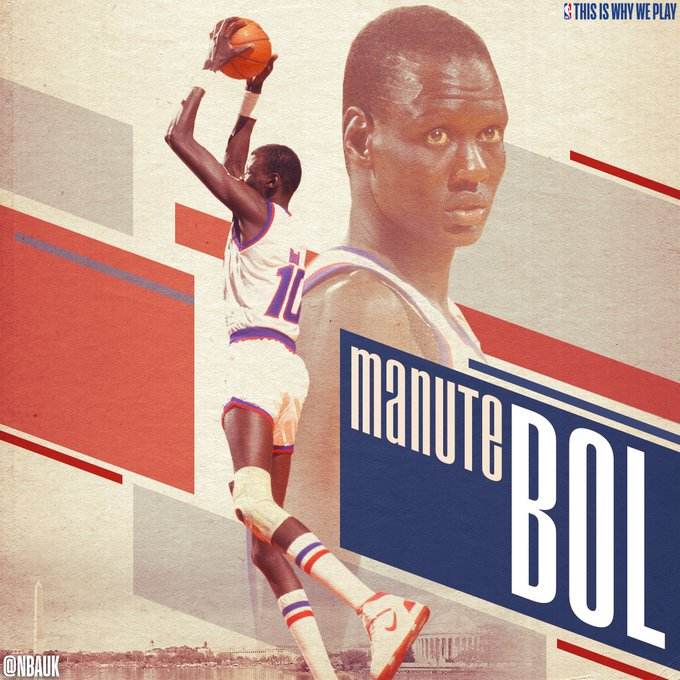 "Wishing a very Happy Birthday to one of the tallest players in NBA history, the 7\7"" Manute Bol"