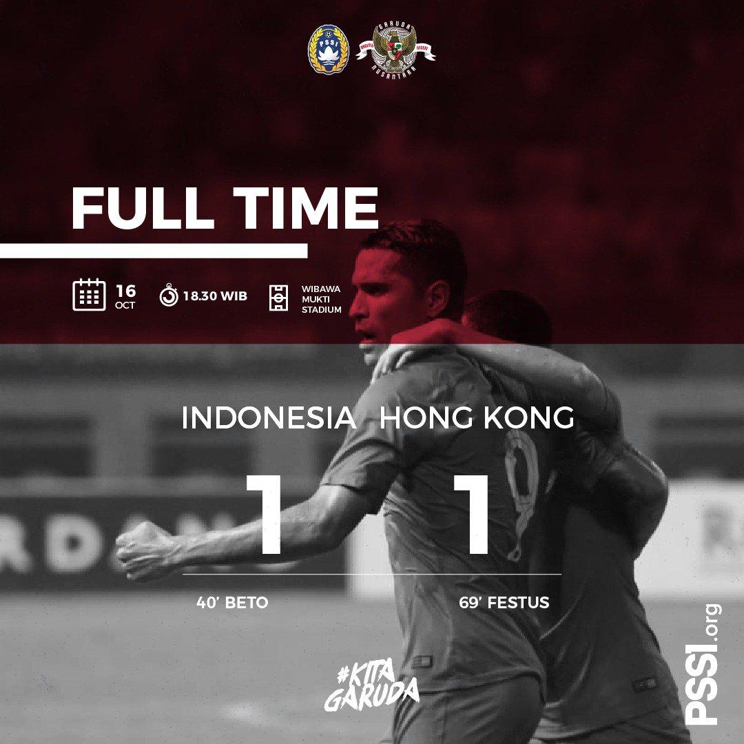 RT @PSSI: Gol Festus di menit 69 menggagalkan kemenangan Indonesia atas Hongkong malam ini.  #PSSINow #KitaGaruda https://t.co/v0Rdc1q7Md