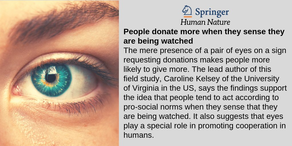 test Twitter Media - A new study from @UVA, published in our Springer Journal Human Nature, suggests that eyes serve as cues to monitor and elicit charitable behavior. Read our press release to learn more: https://t.co/q5wj3OLFiM https://t.co/cGFHTPcSnO