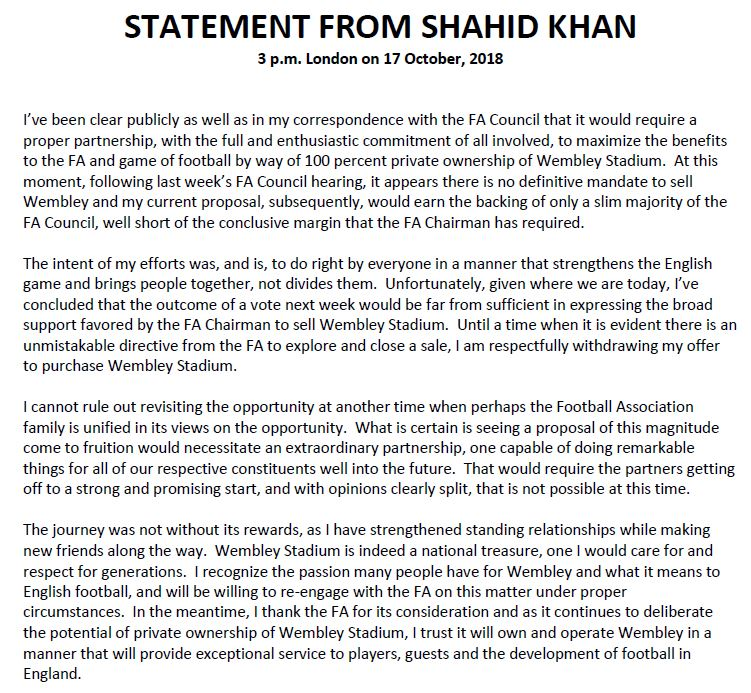 Statement from client Shahid Khan on offer to purchase @wembleystadium. https://t.co/tALsAkloHF