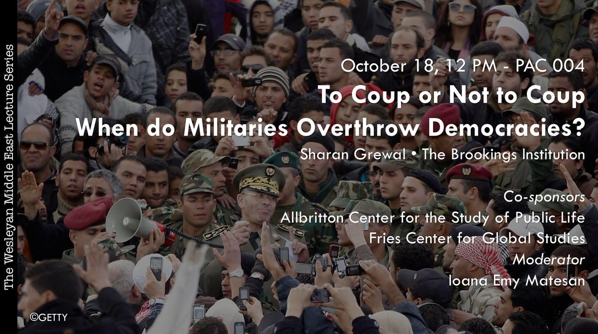 "test Twitter Media - Please join us in PAC 004 tomorrow @ 12pm for the Wesleyan Middle East Lecture Series. We are delighted to have Sheran Grewal from @BrookingsInst speak on the topic, ""To Coup or Not to Coup: When do Militaries Overthrow Democracies."" More info: https://t.co/j6vDkQYH6d https://t.co/kZxPfKHzJU"