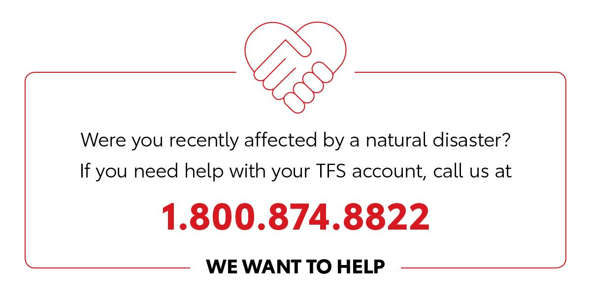 test Twitter Media - Were you recently affected by a natural disaster? If you need help with your @ToyotaFinancial account, call us at 1-800-874-8822. We want to help. https://t.co/kbYMDhhGJT