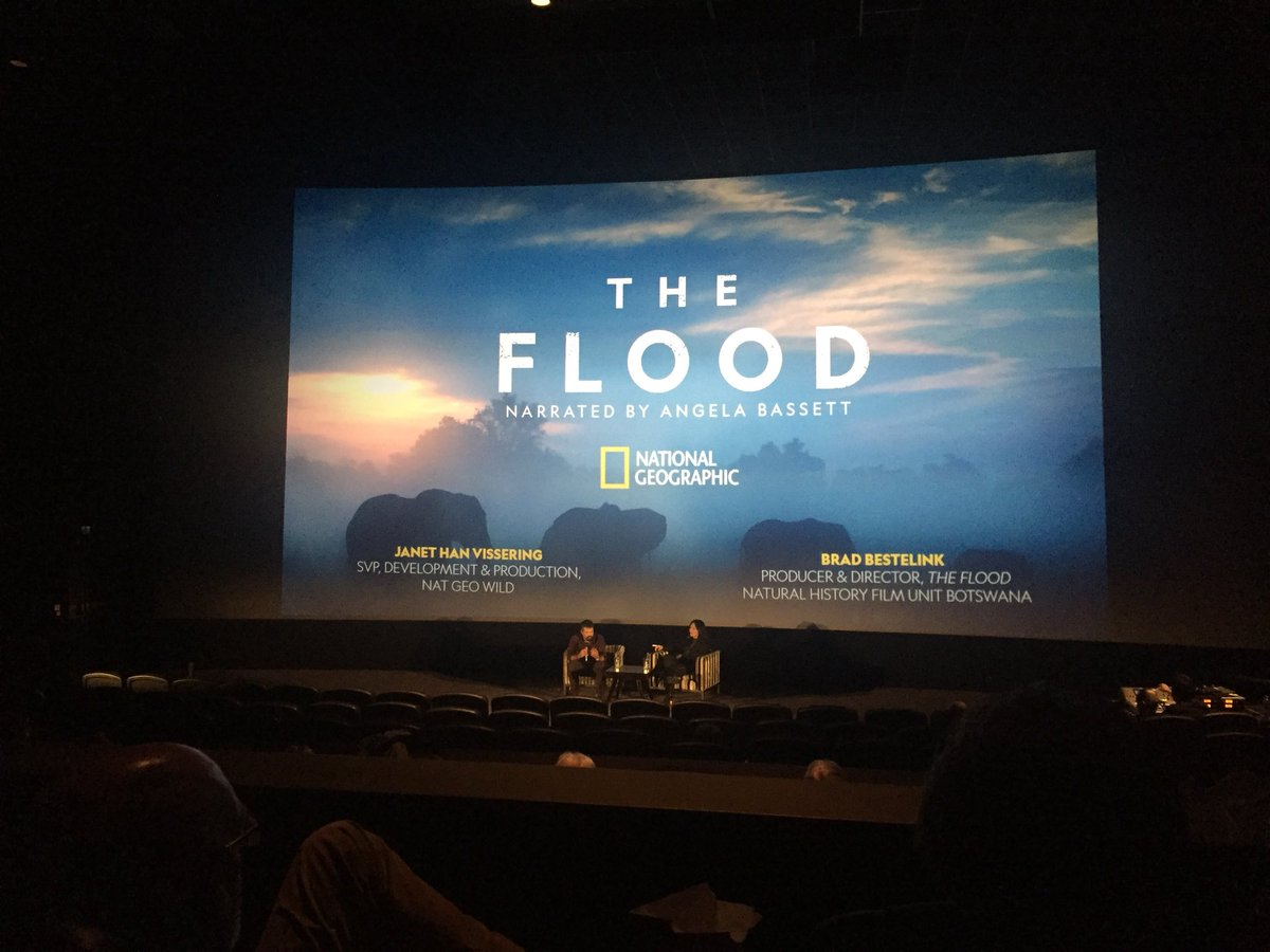 Q&A in session for #TheFlood world premiere @WildscreenFest with @NhfuBots director Brad Bestelink & @natgeowild's Janet Vissering #worldpremiere #premiere #wildscreenfest #naturalhistory #filmmaking #Okavango #botswana https://t.co/9NkfLOCxdQ