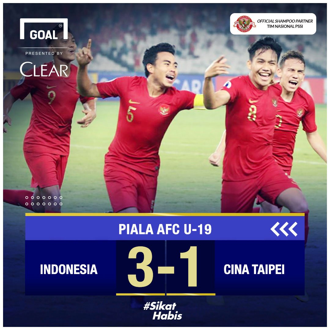 RT @GOAL_ID: FT! Indonesia 3-1 Cina Taipei!  #MatchdayGoal #SikatHabis  https://t.co/1asEoDAsx4  @CLEARIndonesia https://t.co/PvL7czhjWA