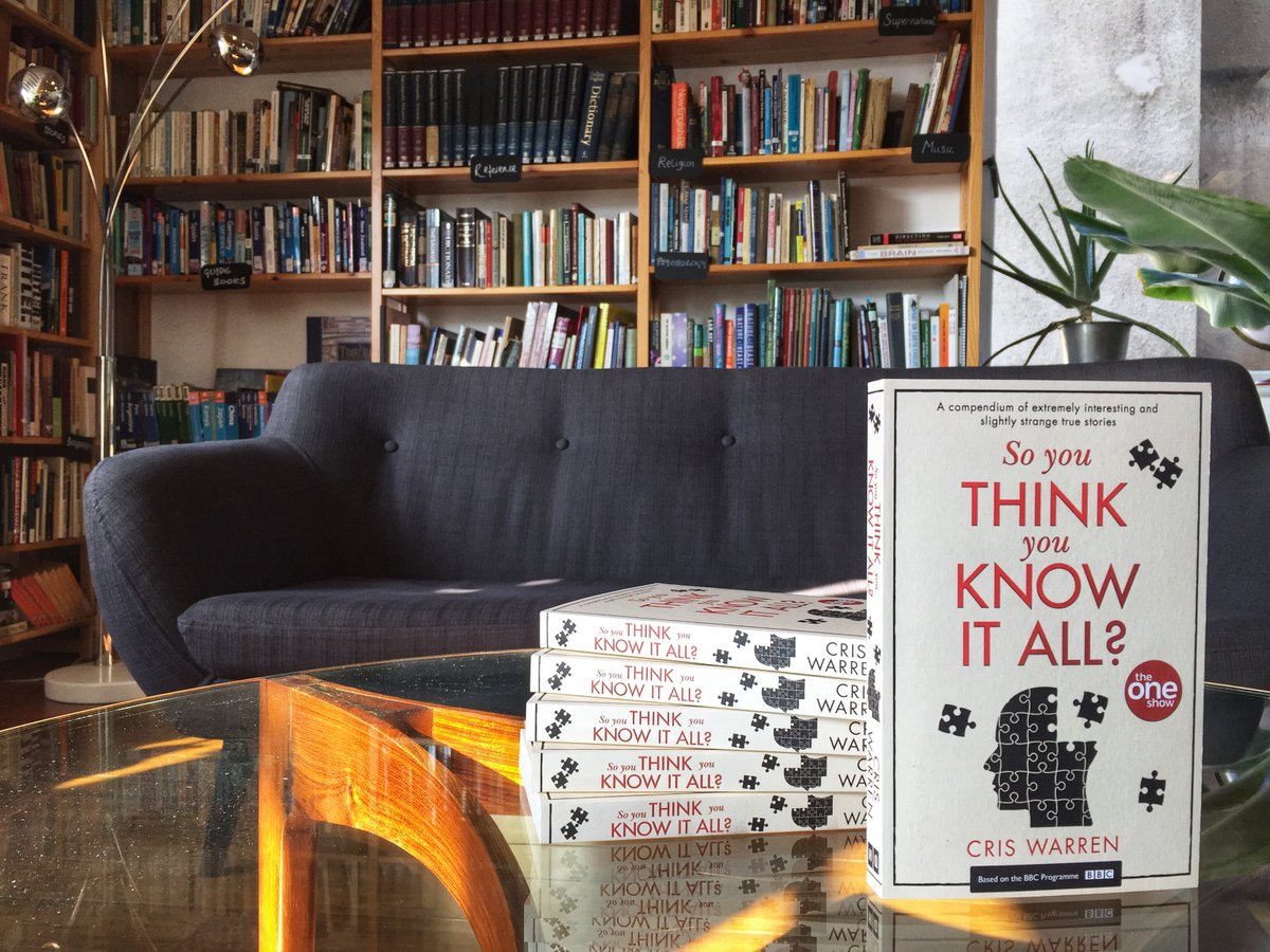 We've got new book in our library! 'So You Think You Know it All?' is a paperback compilation of quirky & quizzical true stories of The One Show four-minute films - written & compiled by director, Cris Warren. Get your copy online now: https://t.co/FCHK6o1FsN #TheOneShow #outnow https://t.co/yMq26GEnSC