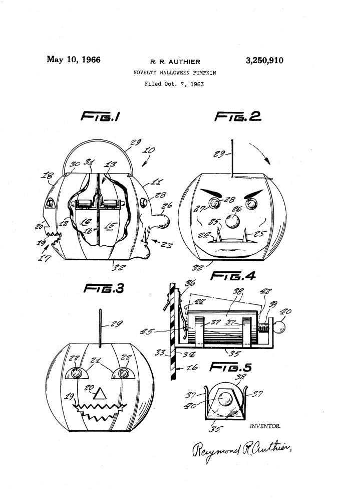 "test Twitter Media - #Patent #USPTO 3,250,910 filed Oct. 7, 1963  #Novelty #Halloween #Pumpkin  ""one object of the present #invention is to provide a novelty #Halloween pumpkin having a plurality of face representations located on opposite side, each of which is differently lighted from the other"" https://t.co/zwtsNBwSdf"