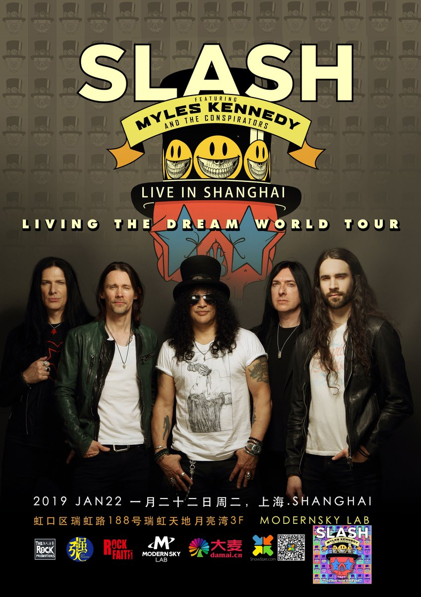 Slash ft. Myles Kennedy & The Conspirators are playing at Modernsky Lab in Shanghai on January 22nd. #slashnews https://t.co/raVFA1Wf1G
