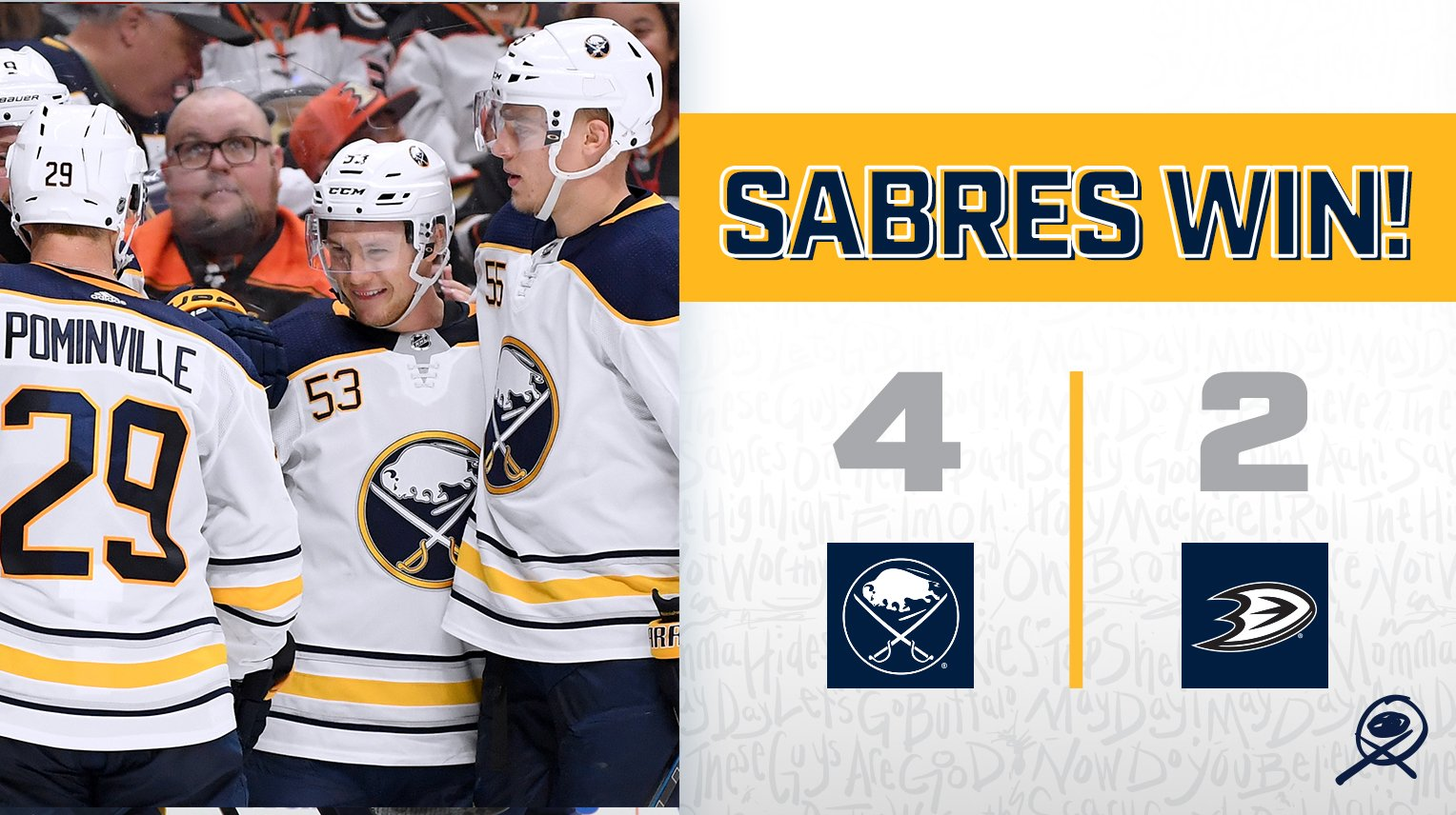 Took down one of the best in the west - and that's back-to-back wins!  #LetsGoBuffalo #Sabres https://t.co/iVQK6Y0Gq1