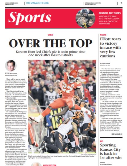test Twitter Media - Chiefs WIN: Early look at Monday's @KCStar Sports cover. Chris Bell (I need to find your tweet to me) with the W on the headline suggestion. MANY good suggestions tho! Huge day for @Kareemhunt7... https://t.co/Q8qTP35zPk