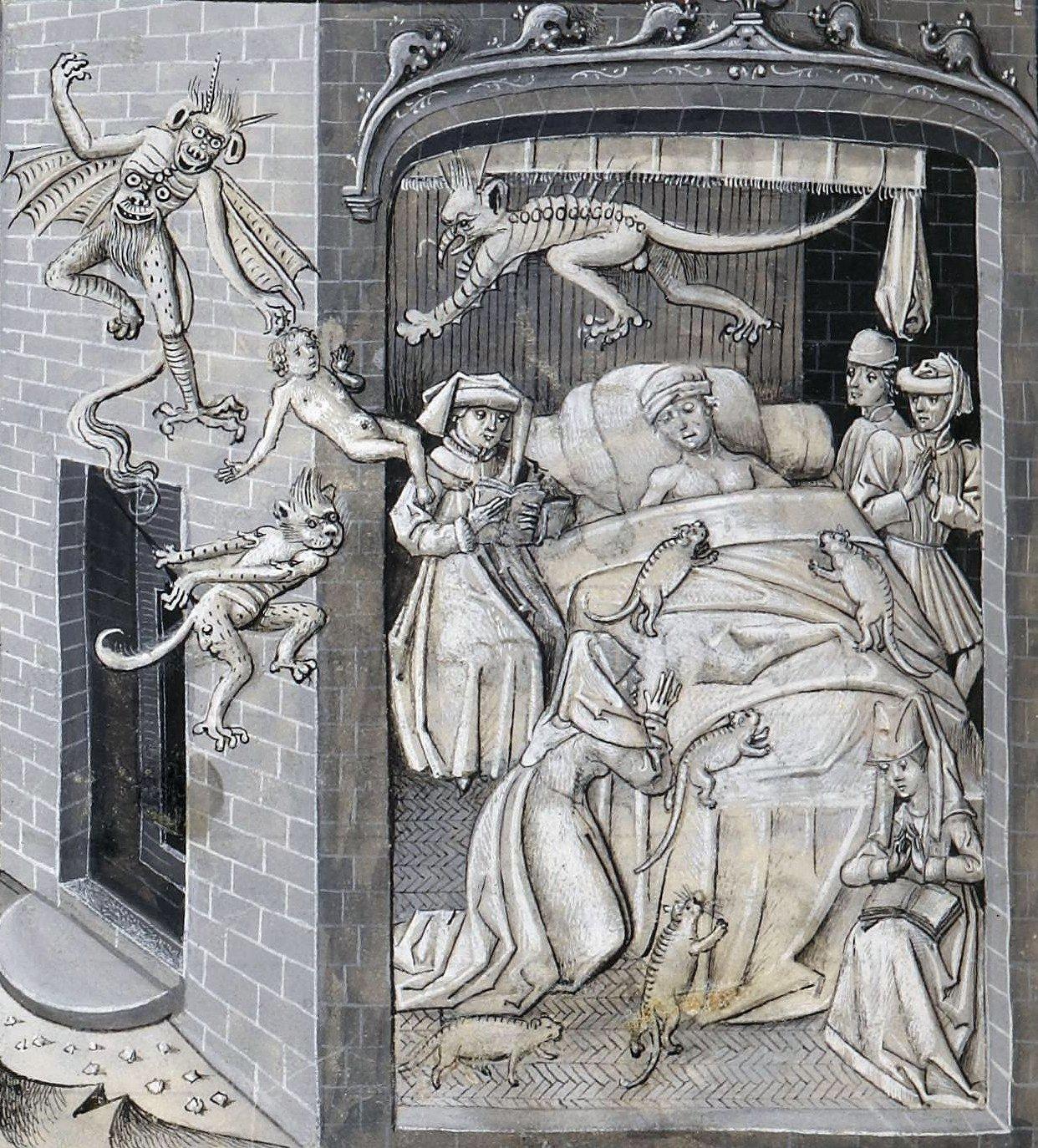 Demonic cats on the deathbed, Jean Miélot, La Vie et Miracles de Nostre Dame, Oudenaarde 1456 (BnF, Français 9198, fol. 110v) https://t.co/QbJ76XNwjl