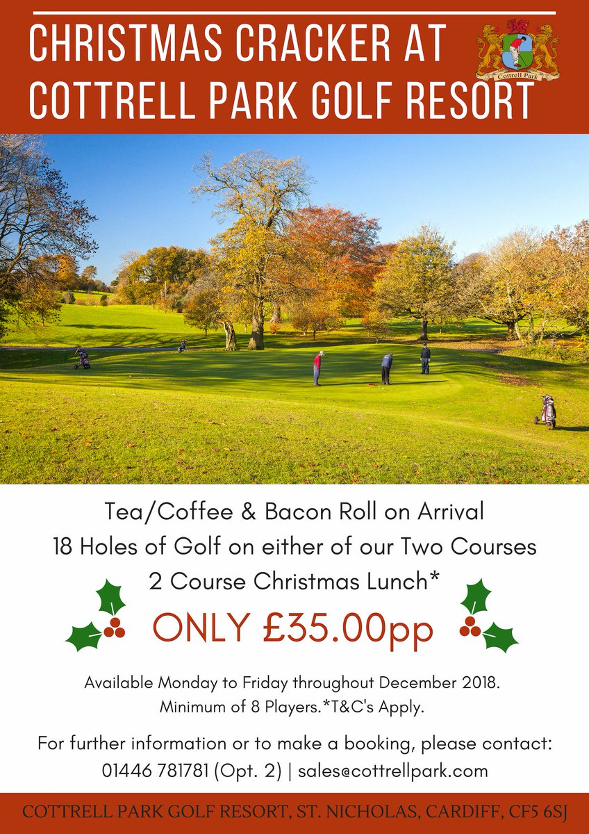 test Twitter Media - 🎄Take a look at our 'Christmas Cracker' Package!?🎄  Available Monday to Friday throughout December 2018. Minimum 8 Players. *T&C's Apply.  For more information or to make a booking, please contact: T: 01446 781 781 (Opt.2 ) | E: sales@cottrellpark.com https://t.co/syM2sEm8cM