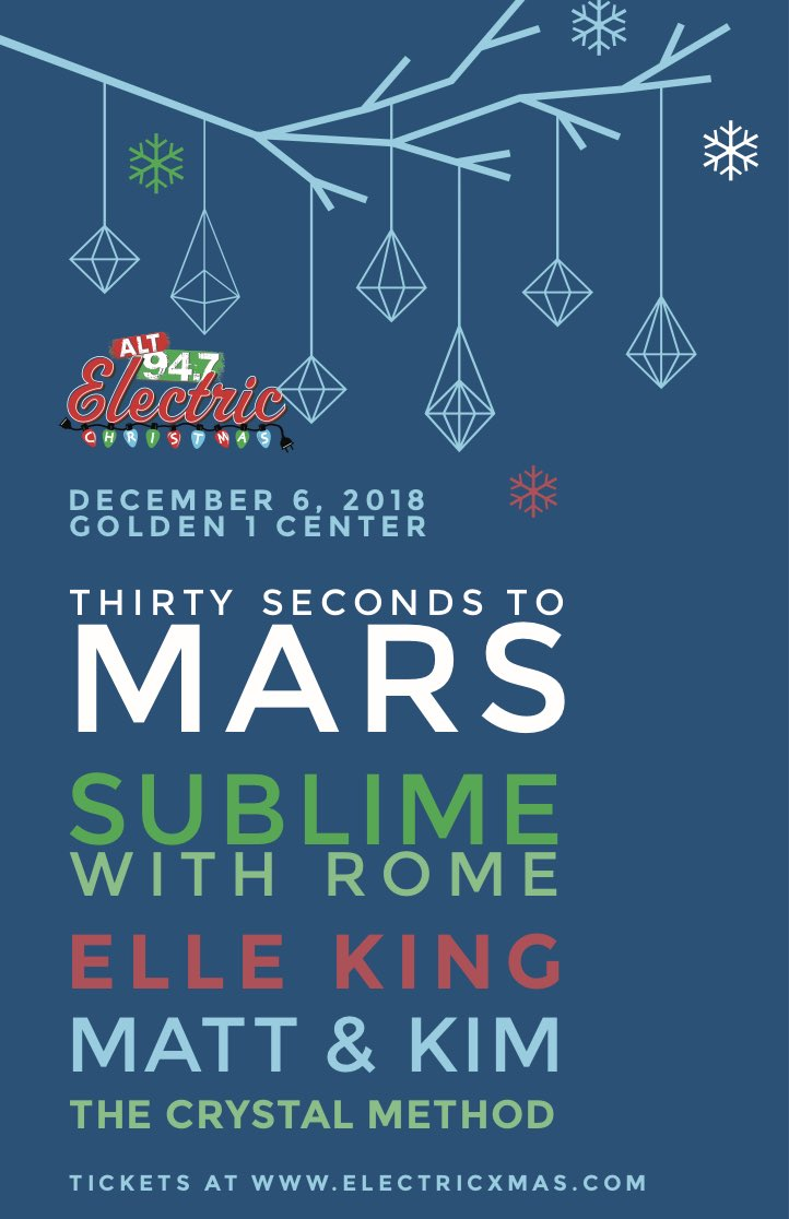 RT @30SECONDSTOMARS: ???? Any plans DEC 6? Join MARS + @alt947 for this year's #ELECTRICXMAS!!  https://t.co/5pqAtCCzSJ https://t.co/1m5MtjIV2Y