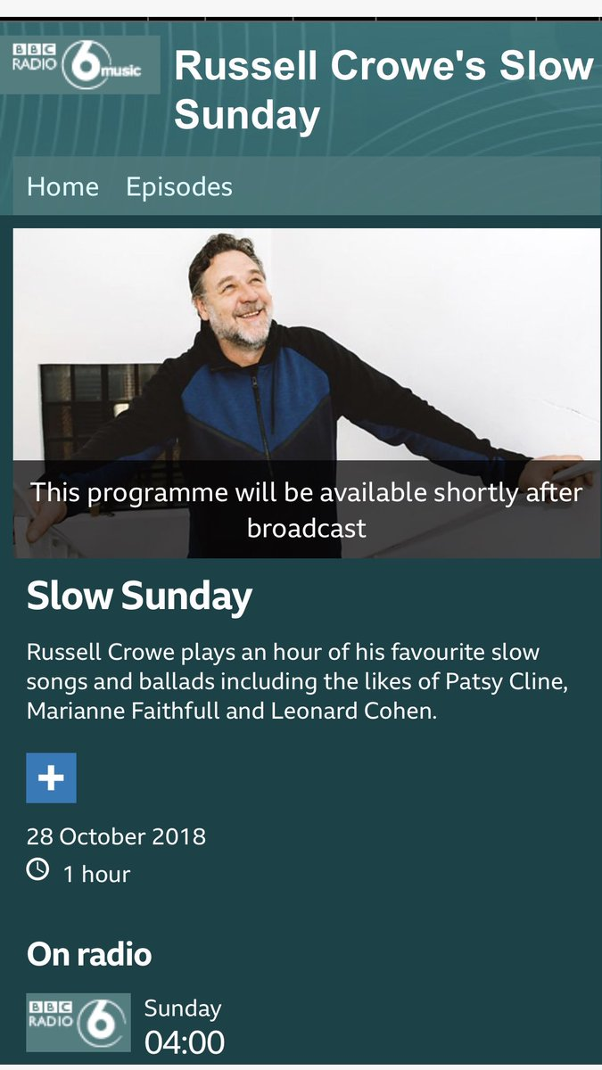 RT @CGeee: Russell Crowe's Slow Sunday  @russellcrowe  @BBC6Music   https://t.co/4yFKGDzJIm https://t.co/7Hq6aKgQr6