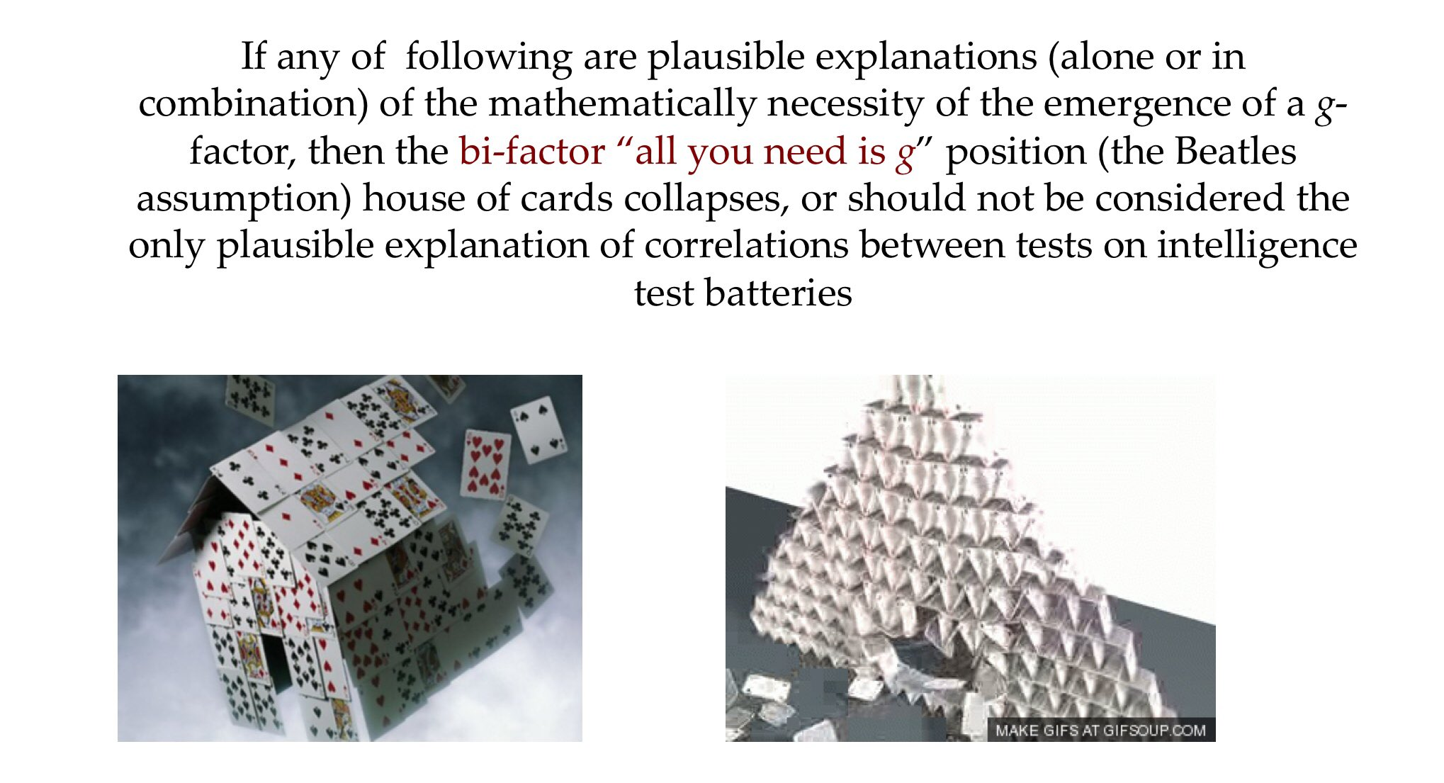 Problems with #bifactor #intelligence #IQ test research studies.  #gfactor may not represent a real thing or ability but may be an #emergent factor...like #SES or #DJI.  #g and primary abilities uncorrelated....seriously?????  Bifactor models are theoretically #agnostic https://t.co/Go77F32UTI