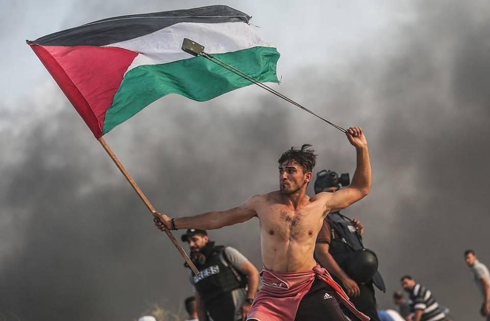 """""""미켈란젤로가 골리앗에 맞선 다윗을 카메라에 담았다면 이런 모습일 것""""  한 손에 팔레스타인 깃발을, 다른 한 손에 돌을 든 가자지구의 시위자 사진이 화제가 되고 있습니다. 며칠 전 가자지구의 시위 중 찍힌 사진입니다. 이 사진은 이스라엘에 저항하는 팔레스타인의 투쟁을 상징적으로 보여줍니다 https://t.co/FbMK1tkHsc"""
