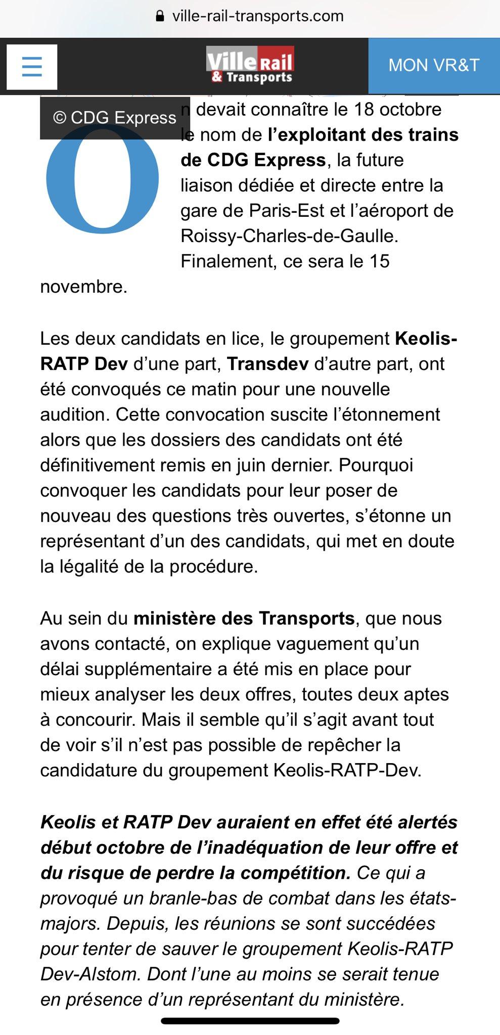Saga CDG Express, acte 8. Conscients du lourd impact sur les RER, de nombreux cadres RATP SNCF n'ont aucune envie d'exploiter ce bousin. Mais Alstom veut vendre ses trains et fait son chantage habituel. Donc l'Etat s'en mêle... Rassurez-vous, à la fin c'est l'usager qui trinquera https://t.co/FePFlrDbPn