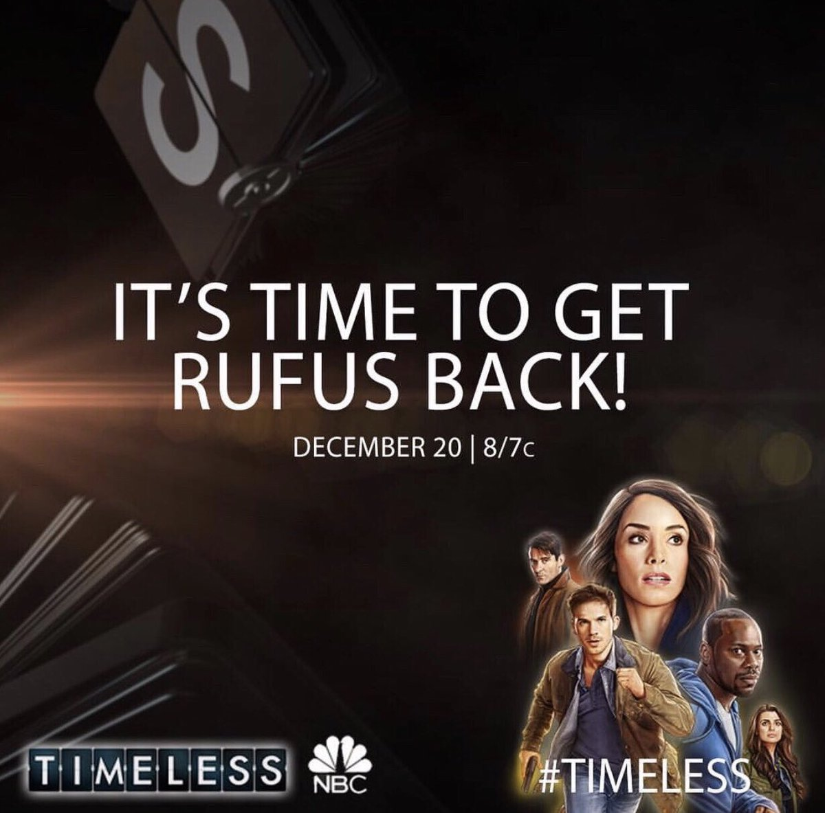See you Thursday, December 20th at 8 pm NBC for the #TimelessMovie ????????????????????????♂️⏰!#Timeless #SaveRufus #ClockBlockers https://t.co/5IIWsu2qpM